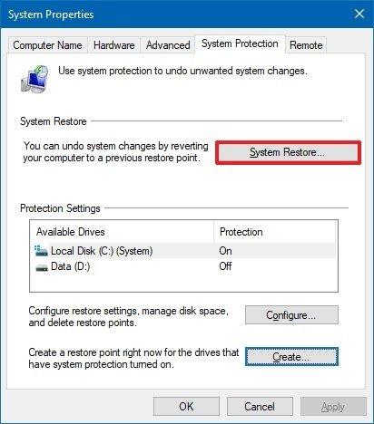 Windows 10 inicia la restauración del sistema