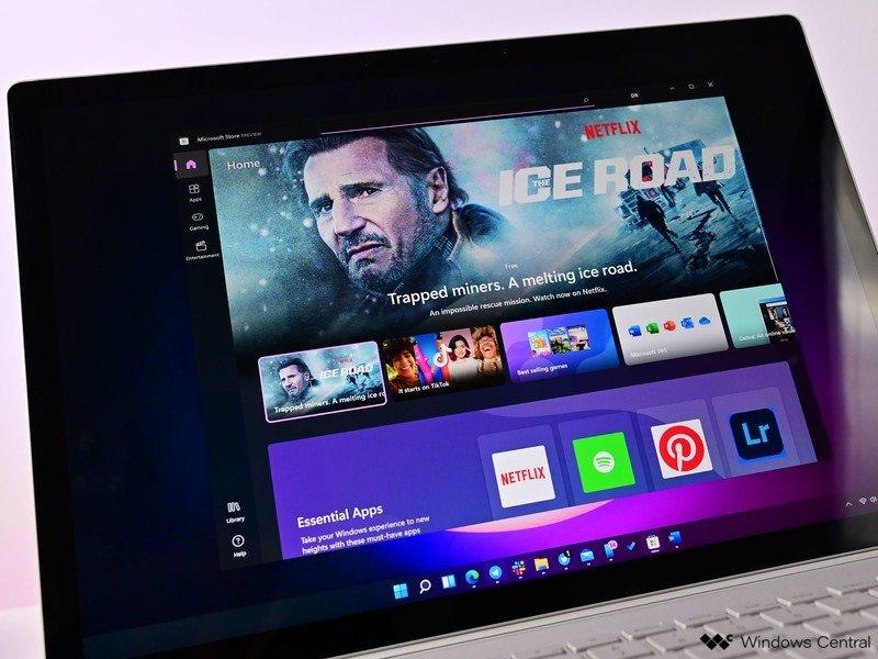Tienda Windows 11 Nuevo Surfacebook oscuro