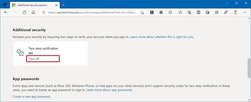 Opción de desactivación de la verificación en dos pasos de la cuenta de Microsoft