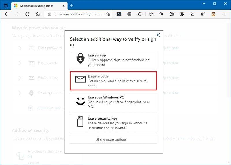 Opciones de recuperación de cuenta de Microsoft