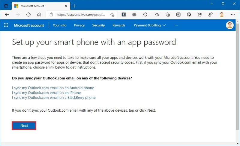 Contraseña de la aplicación de teléfono inteligente de la cuenta de Microsoft
