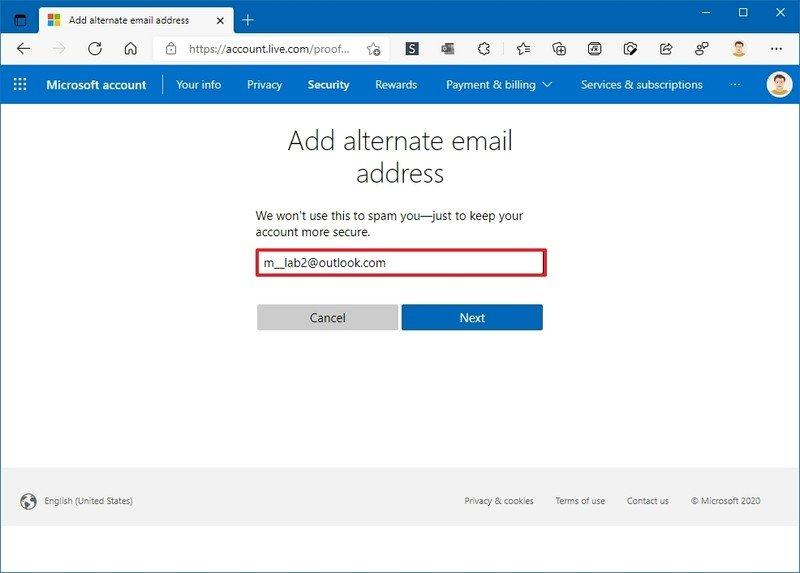 Agregue una dirección de correo electrónico alternativa a su cuenta de Microsoft