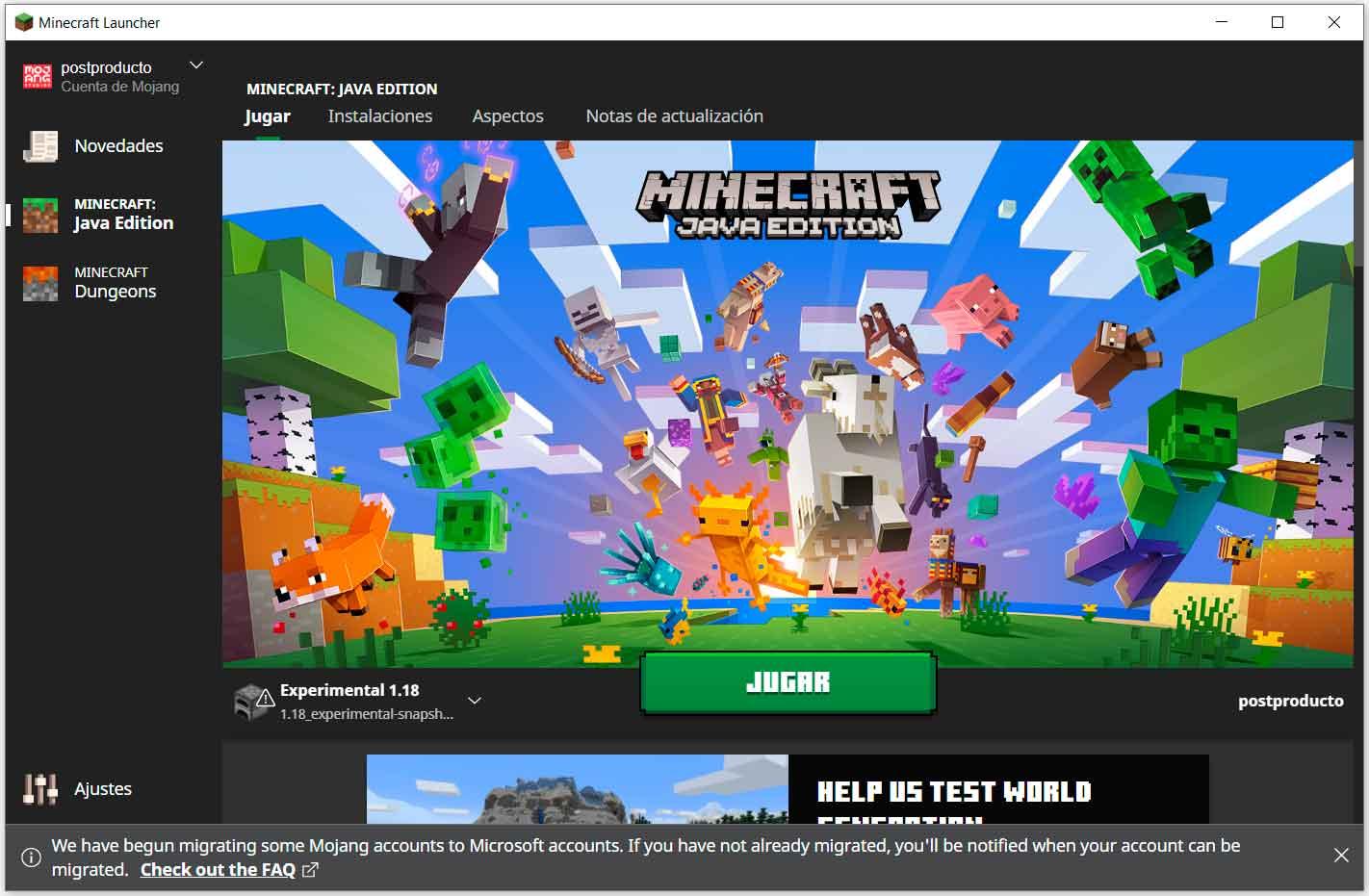 Minecraft 1.18: cómo probar la primera beta