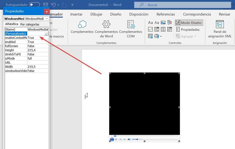 Propiedades de Word Windows Media Player