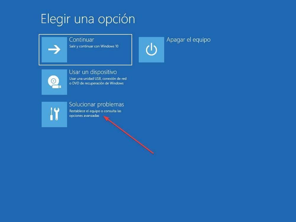 Opciones de recuperación de Windows 10 - 1
