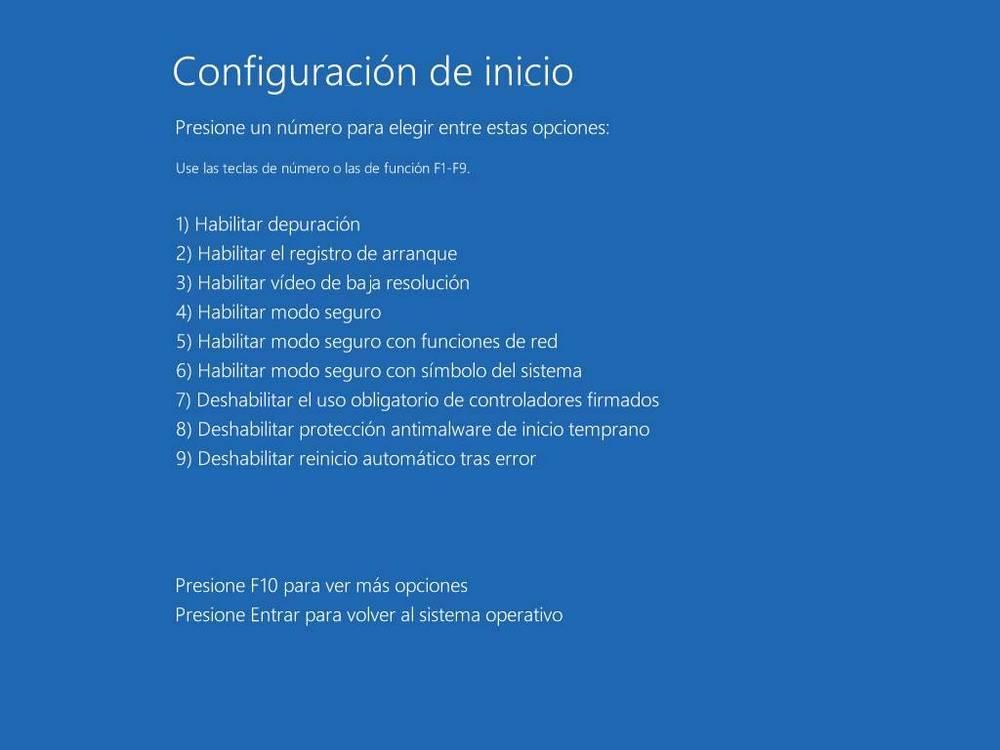 Opciones de arranque avanzadas de Windows