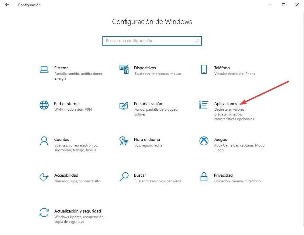 Configuración: aplicaciones abiertas