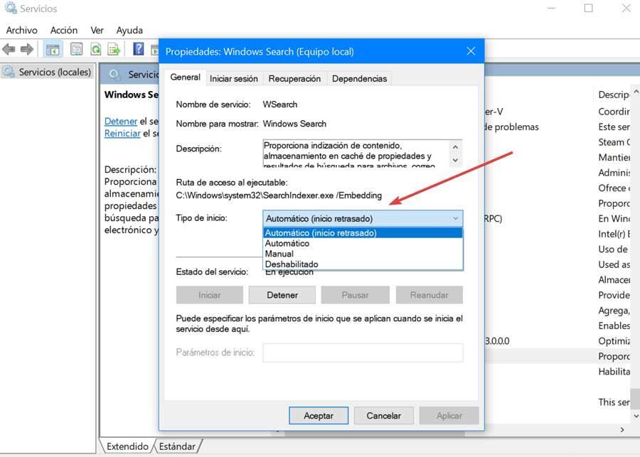 Propiedades de búsqueda de Windows