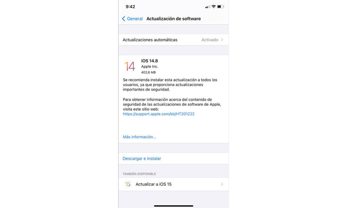 Cómo actualizar iPhone iOS 15