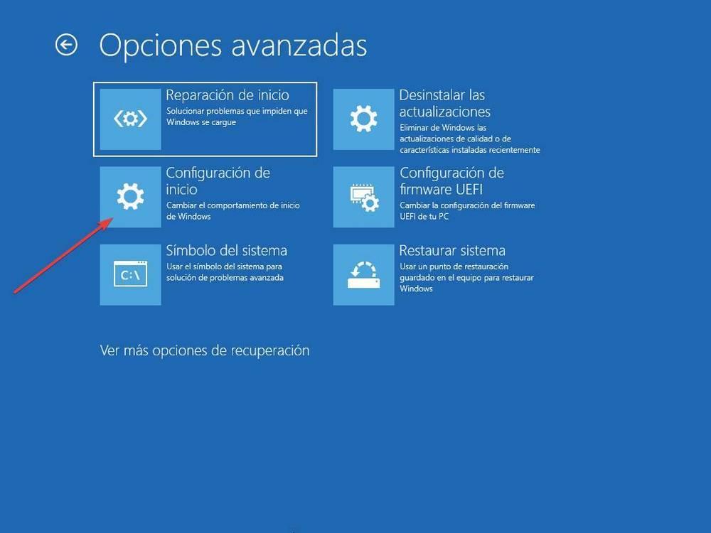 Opciones de recuperación de Windows 10 - 3