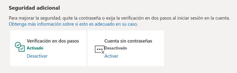 Cuenta de Microsoft - contraseñas